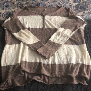Women's FB beach tan and brown stripe top